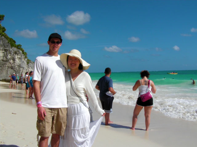 Happy Couple Tulum White Sand Beach Riviera Maya Mexico Vacation Beautiful Paradise