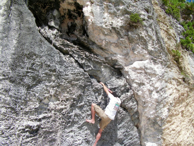 Rock Climbing Bouldering on Beach Limestone White Sand Beach Tulum Riviera Maya Mexico Vacation Beautiful Paradise