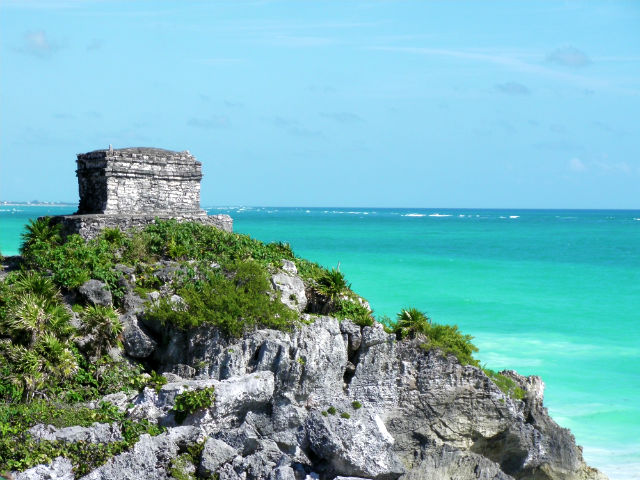 Tulum Ruin Blue Water Agua Azul Lush Vegetation Riviera Maya Mexico Vacation Beautiful Paradise