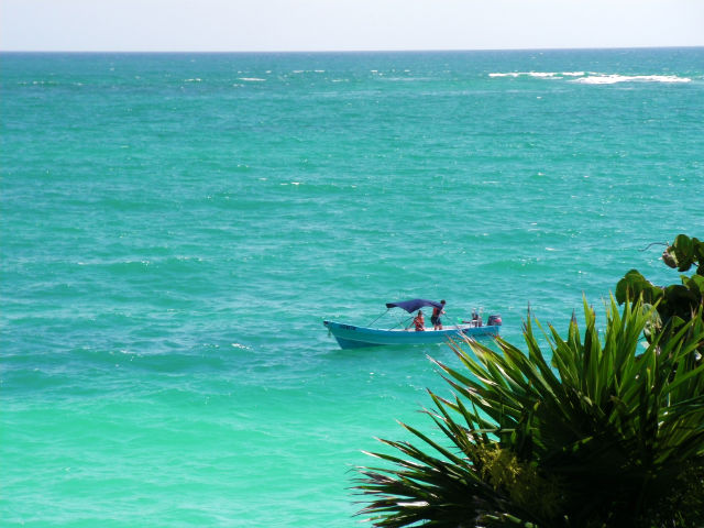 Tulum Fishing Boat Blue Water Agua Azul Lush Vegetation Riviera Maya Mexico Vacation Beautiful Paradise