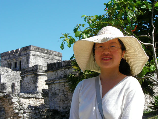 Beautiful Young Woman Tulum Ruin Lush Vegetation Riviera Maya Mexico Vacation Beautiful Paradise