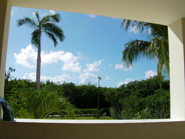 The view while booking our Xel-ha and Tulum excursion for the next day with Lomas Travel