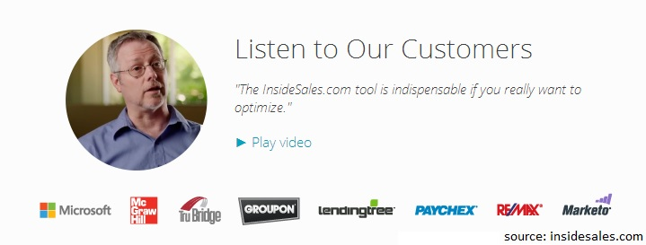 InsideSales Testimonial Video and Well Known Customers
