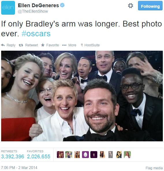 Ellen DeGeneres Bradley Cooper Angelina Jolie Brad Pitt Selfie Oscars Twitter Crash