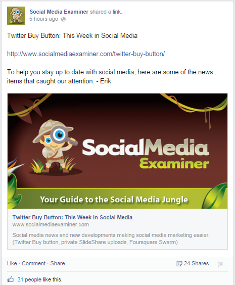 Social Media Examiner Facebook Post Twitter Buy Button News