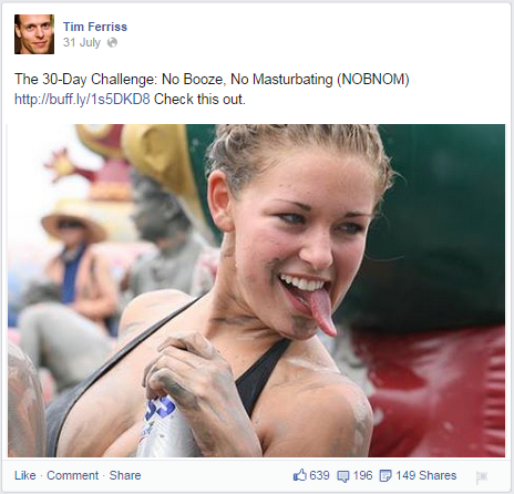 Tim Ferriss NOBNOM Funny Facebook Post