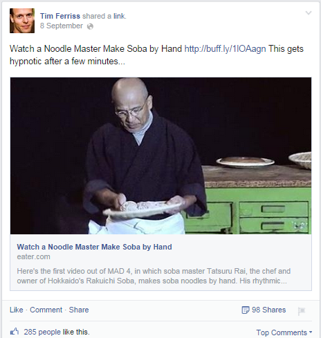 Tim Ferriss Facebook Post