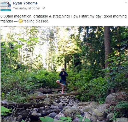Ryan Yokome's Morning Routine (FB post June 18, 2015)
